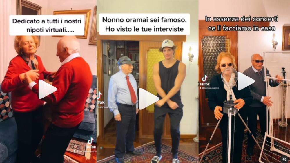 Screenshot dei video social di Nonno Severino